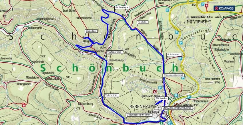 Kostenlose Wanderkarte: Wanderung ab Kloster Bebenhausen durch den Schönbuch