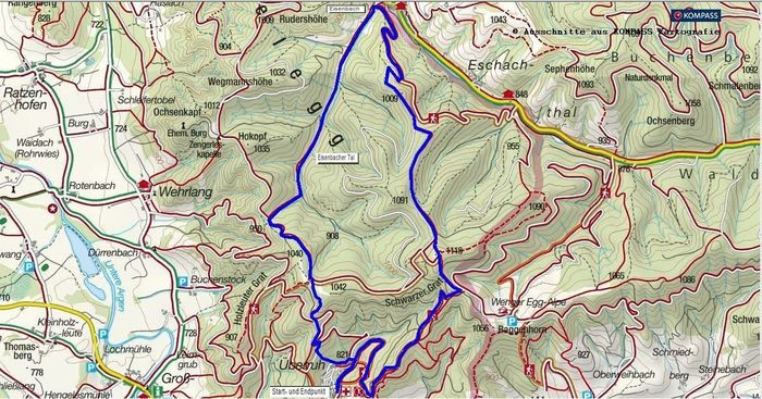 Wandern in der Adelegg - Von Bolsternang auf den Schwarzen Grat - Karte als pdf