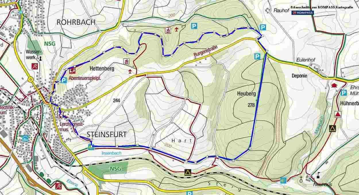 Wanderung in Steinsfurt bei Sinsheim; Rundwanderweg