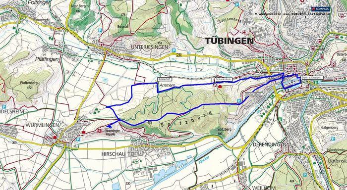Wanderung von Tübingen zur Wurmlinger Kapelle und zurück durch das Ammertal.