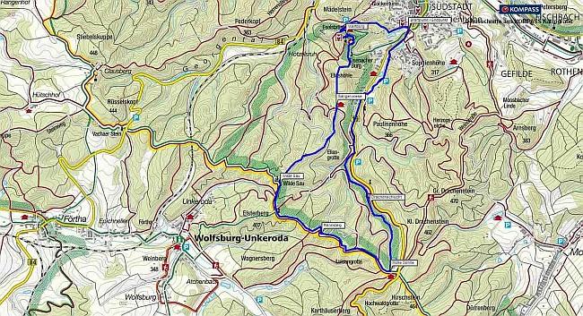 Wanderung von Eisenach über die Wartburg zur Hohen Sonne und durch die Drachenschlucht. Wanderkarte als pdf