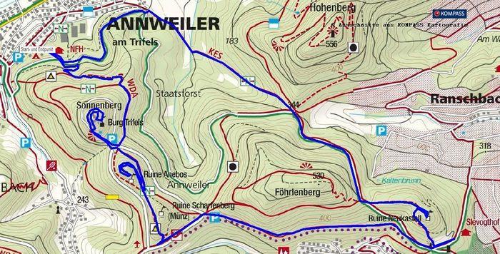 Wanderung Annweiler, Trifels, Neukastell, Annweiler