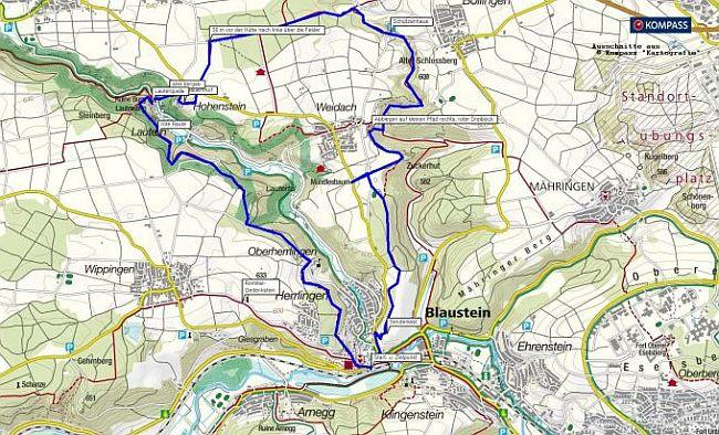 Wanderkarte Herrlingen - Lauterursprung - Wanderung im kleinen Lautertal