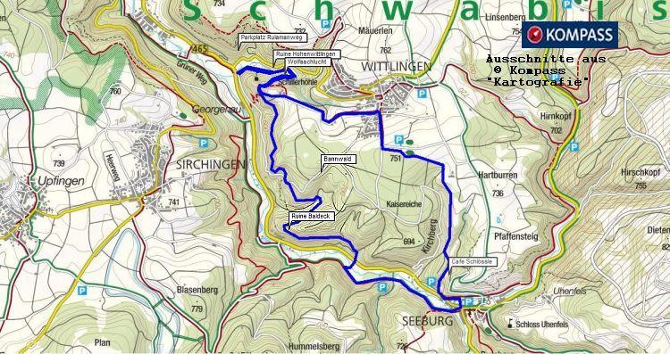 Der Rulamanweg bei Bad Urach auf die Schwäbische Alb. Kompass Wanderkarte gratis zum Download