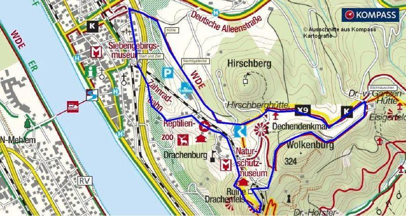 Wanderung auf den Drachenfels - Wanderweg ab Königswinter - kostenlose Wanderkarte