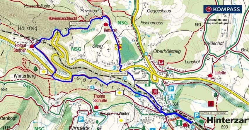 kostenlose Kompass Wanderkarte Ravennaschlucht Schwarzwald - gratis Download bei www.geschichte-zu-fuss.de