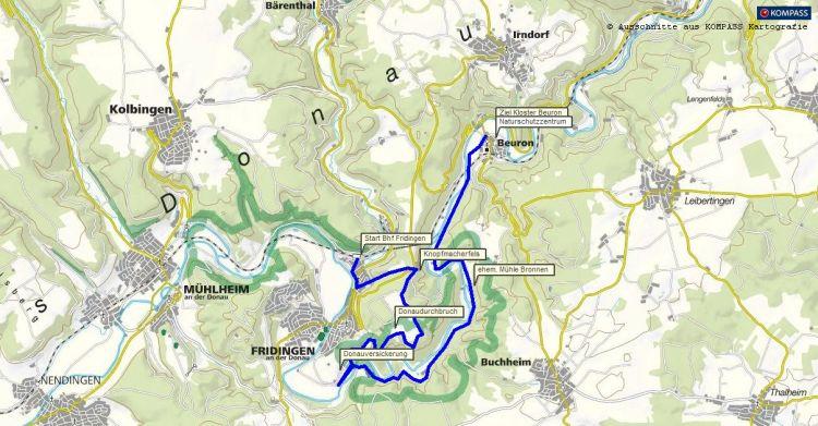 Wandern und Wanderung an der Oberen Donau von Fridingen zum Kloster Beuron