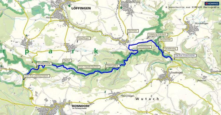 Wutachschlucht Wandern: 16 Kilometer Wanderung durch die Wutachschlucht im Hochschwarzwald bei Donaueschingen - Wanderkarte / Karte gratis als PDF