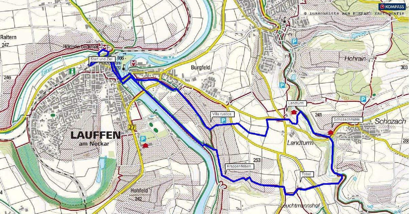 Wanderwege Deutschland Karte.Rundwanderung Lauffen Am Neckar Schozachmühle Krappenfelsen
