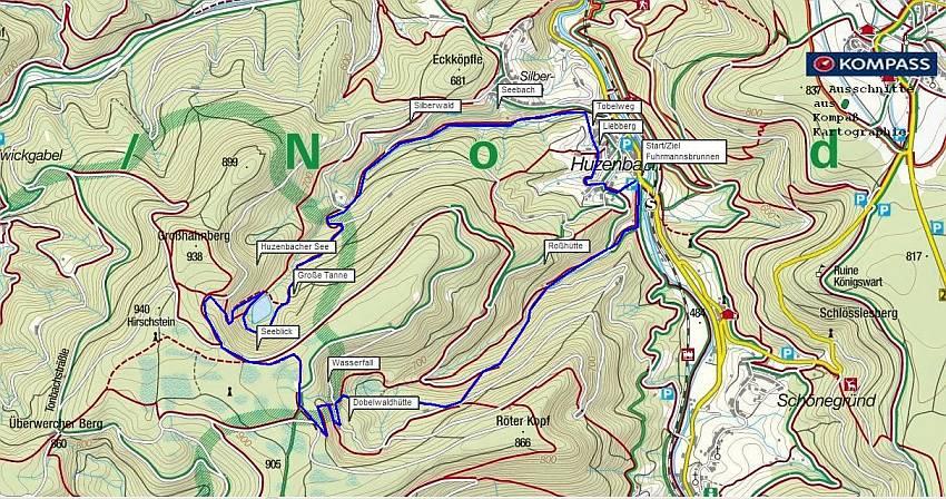 Die Eiszeittour in Baiersbronn Huzenbach. Für unterwegs: Wanderkarte anklicken und ausdrucken. Kostenlose Kompass Wanderkarte