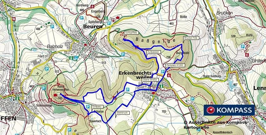 Wanderung Schwäbische Alb: Erkenbrechtsweiler, Heidengraben, Burg Hohenneuffen - Biosphärengebiet Schwäbische Alb