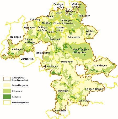 Übersichtskarte Biosphärengebiet Schwäbische Alb