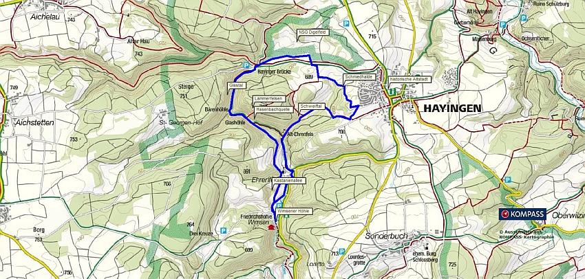 Wandern im Glastal bei Hayingen - Karte als pdf